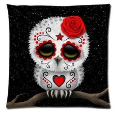 Sugar Skull Cushion Cover - Sugar Skull Owl - Roses - Black