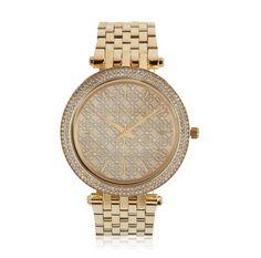 Glanzleistung: Die Glaskristalle an der Lünette und das rautenverzierte, mit Glaskristallen besetzte goldfarbene Zifferblatt verleihen dieser Armbanduhr einen hochwertigen Look. #Uhr #Accessoires #Schmuck