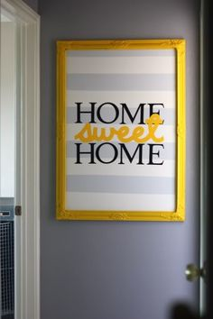 gray yellow home sweet home art
