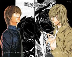 Death note  (Light Yagami and Teru Mikami--the two most entertaining, enthusiastic writers I've ever seen.)