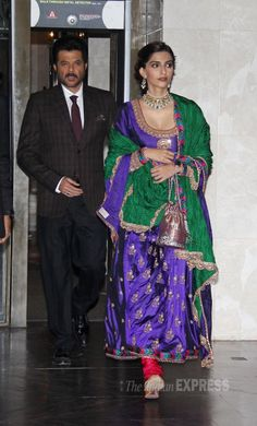 Sonam Kapoor and Anil Kapoor at Shahid Kapoor and Mira Rajput's wedding reception. #Bollywood #ShahidMiraReception #ShahidKiShaadi #Fashion #Style #Beauty #Ethnic #Desi