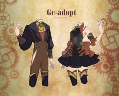 Twin Outfits, Couple Outfits, Dark Costumes, Drawing Anime Clothes, Anime Poses Reference, Fashion Design Drawings, Character Outfits, Anime Outfits, Character Design Inspiration