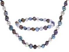 7-8mm Multi-color Cultured Freshwater Pearl Necklace And Stretch Brace