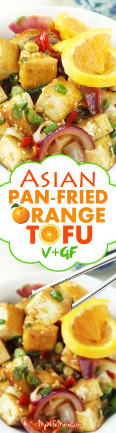 Asian Pan-Fried Orange Tofu recipe made with tofu, orange juice & zest, onions, sesame seeds, and more.