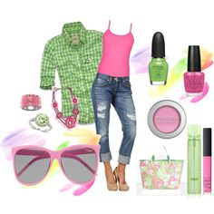 Minus the heels and ridiculous purse.... Add my pink and green chucks. Now, that would be a winner!