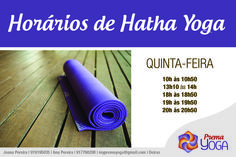 HORÁRIOS DE HATHA YOGA À QUINTA-FEIRA