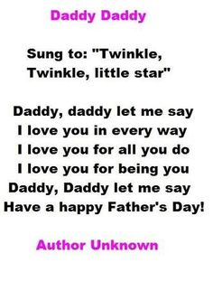 Find out Short Happy Fathers Day Poems From Kids, preschoolers, toddlers, Daughter & son. Inspirational cute fathers day poems 2019 from wife To Husband love through poetry Happy Fathers Day Poems, Mothers Day Songs, Fathers Day Art, Fathers Day Quotes, Fathers Day Crafts, Grandparents Day Songs, Happy Mothers, Diy Mother's Day Crafts, Diy Father's Day Gifts
