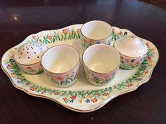 Fabulous Crown Ducal Egg Cup/ Cruet Set On Stand