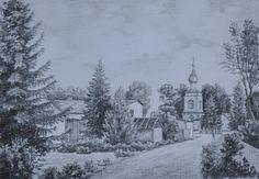 Василий Россин (Vasily Rossin), Дорога к храмуThe road to the temple2015 г.Бумага, карандашPencil, paper32 х 22