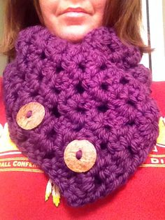 Hand Crocheted Button Scarf