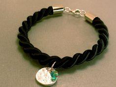 Twisted Silk Charm Bracelet Black Silk by CraftsbyBrittany on Etsy, $8.00