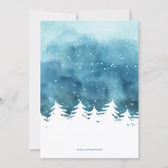 Shop Watercolor Winter Scene Christmas Photo Holiday Card created by heartlocked. Christmas Cards Drawing, Painted Christmas Cards, Watercolor Christmas Cards, Christmas Tree Painting, Christmas Card Crafts, Watercolor Cards, Xmas Cards, Christmas Art, Winter Painting