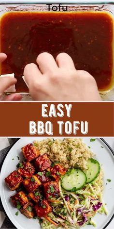 This BBQ Tofu is simple to make and PACKED with flavor! It can be baked or pan fried and both are delicious! Best Tofu Recipes, Vegan Recipes Easy, Indian Food Recipes, Diet Recipes, Vegetarian Recipes, Ethnic Recipes, Vegan Comfort Food, Vegan Food, Bbq Tofu