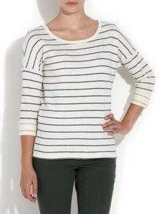 White Stripe Roll Sleeve Sweater