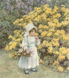 A little girl carrying a basket of flowers before an azalea bush by Caroline Paterson Sharpe