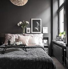 Dark Bedroom Ideas: Unique Decors with Captivating Atmos.- Dark Bedroom Ideas: Unique Decors with Captivating Atmosphere Source by - Dark Gray Bedroom, Grey Bedroom Decor, Small Room Bedroom, Small Rooms, Home Bedroom, Bedroom Ideas, Dark Bedrooms, Dark Grey Bedding, Grey Bedroom Design