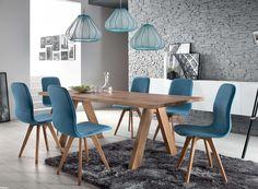 Schalenstuhl Stuhl Esszimmer modern blau Eiche massiv hellblau Samtig - Vorschau 3