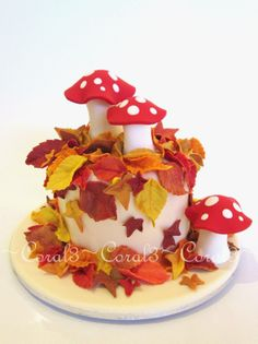 Leaves toadstools made out of fondant with a little gum tragacanth added. This cake is very small, only a 4 round. Fondant Figures, Fondant Cakes, Cupcake Cakes, Toadstool Cake, Mushroom Decor, Pretty Cupcakes, Fall Cakes, Beautiful Desserts, Little Cakes