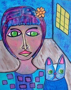 A Girl And Her Mysterious Cat Original Artwork by Graham Elvis © Cat Art Print, Artistic Photography, Types Of Art, Graham, Original Artwork, Mystery, Sculptures, Watercolor, Art Prints