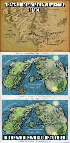 Tolkien's awesomeness. --- Middle Earth compared to the rest of the planet.