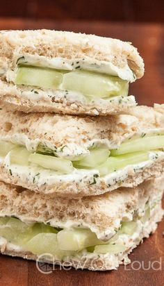 Lemony Cucumber Cream Cheese Sandwiches - The perfect shower, lunch, or brunch finger food. Yes for spring and summer! This links to egg salad sandwich recipie as well. Vegetarian Recipes, Cooking Recipes, Healthy Recipes, Vegetarian Breakfast, Breakfast Recipes, Mexican Recipes, Cheese Recipes, Healthy Cooking, Vegetable Recipes