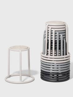 Champ is a re-imagining of the utilitarian stackable stool. When stored, the stools form a graceful and graphic upward spiral. Champ provides the ideal perch for home or office and the perfect solution for larger commercial projects.