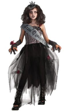 Dress with wispy tulle skirt and sash, glovettes, and skull crown. Creepy! Child small fits sizes 4-6.