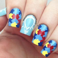 Autism Awareness nails, we love these!