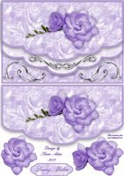 Lilac Roses For Mum Double Scallop Faux Envelope Card Front