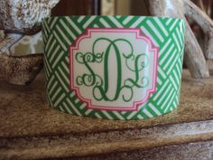 Monogrammed Cuff CROSSHATCH Personalized by Pink Wasabi Ink
