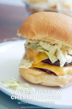 Jalapeno Slaw Cheeseburgers on www.strawberrymommycakes.com  #SayCheeseburger #shop