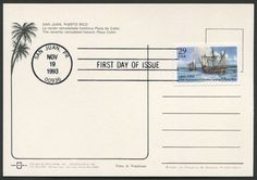 United States Scott #2805 (19 Nov 1993) 500th Anniversary issue of the Discovery of Puerto Rico by Christopher Columbus on his second voyage tied to postcard with First Day of Issue cancellation:   (Text) …FIRST DAY OF ISSUE, Nov 19, 1993, San Juan, PR (Puerto Rico) 00936.  Postcard of the Christopher Columbus statue in Old San Juan, Puerto Rico. (Nye pc #147-B)
