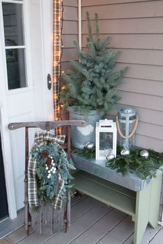 Simple Vintage Porch-Christmas Decorating | Finding Home Farms