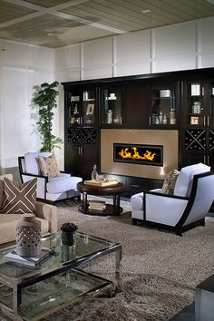 built-in, linear fireplace, lounge seating, ceiling treatment, finish carpentry
