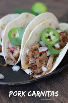 Use up leftover pulled pork or pork roast to make these delicious and simple pork carnitas. Just add a few toppings and you have the ultimate taco. Leftover Pork Loin Recipes, Leftover Pork Tenderloin, Pork Roast Recipes, Pork Tenderloin Recipes, Leftovers Recipes, Pork Meals, Roast Brisket, Beef Tenderloin, Pork Roadt