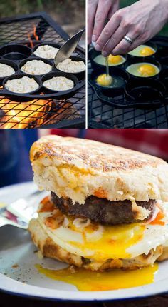 A great list of delicious CAMPING MEALS! These recipes will get you excited to go on your next camping trip! Food is always better when you are camping! Campfire Breakfast, Breakfast Burger, Campfire Food, Breakfast Recipes, Breakfast Biscuits, Breakfast Sandwiches, Campfire Potatoes, Campfire Biscuits, Campfire Recipes