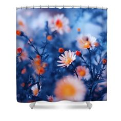 Oksana Ariskina Shower Curtain featuring the photograph Orange Flower On Blue by Oksana Ariskina #OksanaAriskina #OksanaAriskinaFineArtPhotography #Flowers #ArtForHome #Blue #Orange #Bokeh #Nature #FineArtPrints #InteriorDesign #PrintsForSale #ShowerCurtain