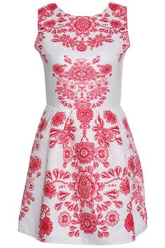 ROMWE Floral Print Ethic Red Dress