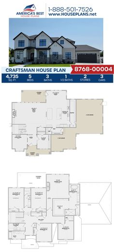 Searching for a spacious home with many exclusive features? Plan 8768-00004 is featured 4,735 sq. ft. 5 bedrooms, 3.5 bathrooms, exercise room, a formal living room, a mud room, a kitchen island, an office concept, and a theater room. Learn more about this exclusive design on our website. Craftsman Style Homes, Craftsman House Plans, Slab Foundation, Floor Plan Drawing, Construction Cost, Best House Plans, Build Your Dream Home, Formal Living Rooms, Workout Rooms