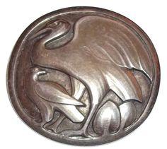Antique Early Georg Jensen Sterling Silver GI Denmark Heron Bird brooch #167
