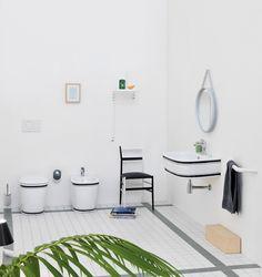 The.Artceram Azuley collection with black decor, design Meneghello Paolelli Associati #washbasin #sanitaryware #ceramics #design #decor #madeinitaly