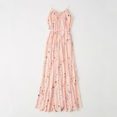Abercrombie & Fitch Maxi Dress ($78) ❤ liked on Polyvore featuring dresses, pink floral, petite length maxi dresses, white silk dress, floral dresses, pink floral dress and floral print dress