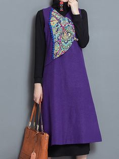 Purple Women Retro V-Neck Embroidery Patchwork Sleeveless Vest Dress