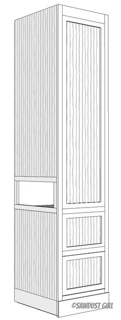 Bedroom Tower Cabinet - free and easy plans from https://sawdustgirl.com.