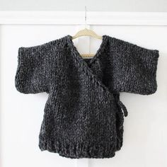 Beginner knitting pattern for this Toddler Kimono Sweater. So fast & easy to make!