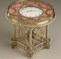 """For her fifty-first birthday, celebrated in Moscow in 1938, Marjorie Merriweather Post received this clock from husband Joseph Davies. About this gift she wrote, """"I recorded [in my scrapbook] my joy in receiving for my birthday a pink enameled clock by Fabergé and then going on that same evening to the Bolshoi Ballet, with the gift very much in mind."""""""