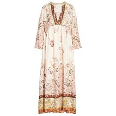Women's Free People If You Only Knew Peasant Dress ($168) ❤ liked on Polyvore featuring dresses, ivory, pink dress, boho dresses, pink vintage dress, boho style dresses and bell sleeve dresses