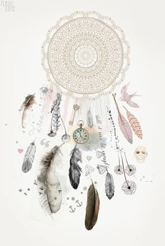 A dreamcatcher is a Native American object that is meant to ward off harm and evil. It's actually supposed to catch nightmares, so that they don't enter a person's mind. #illustration #art