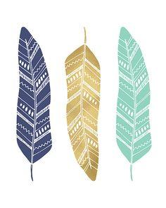 Impresión de plumas de plumas oro y Teal Navy imprimible menta