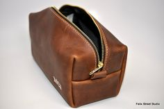 Personalized Leather Toiletry Bag for Men